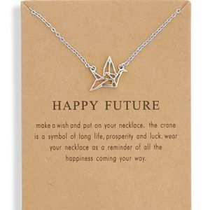 Inspirational Origami Crane Charm Necklace NEW